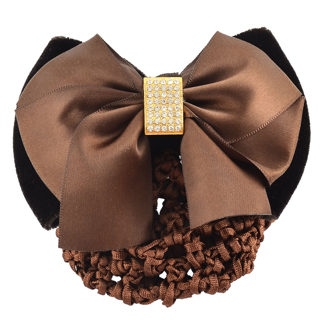 Women Hairstyle Bowknot Decor Snood Net Holder Barrette Hair Clip Hairnet Brown