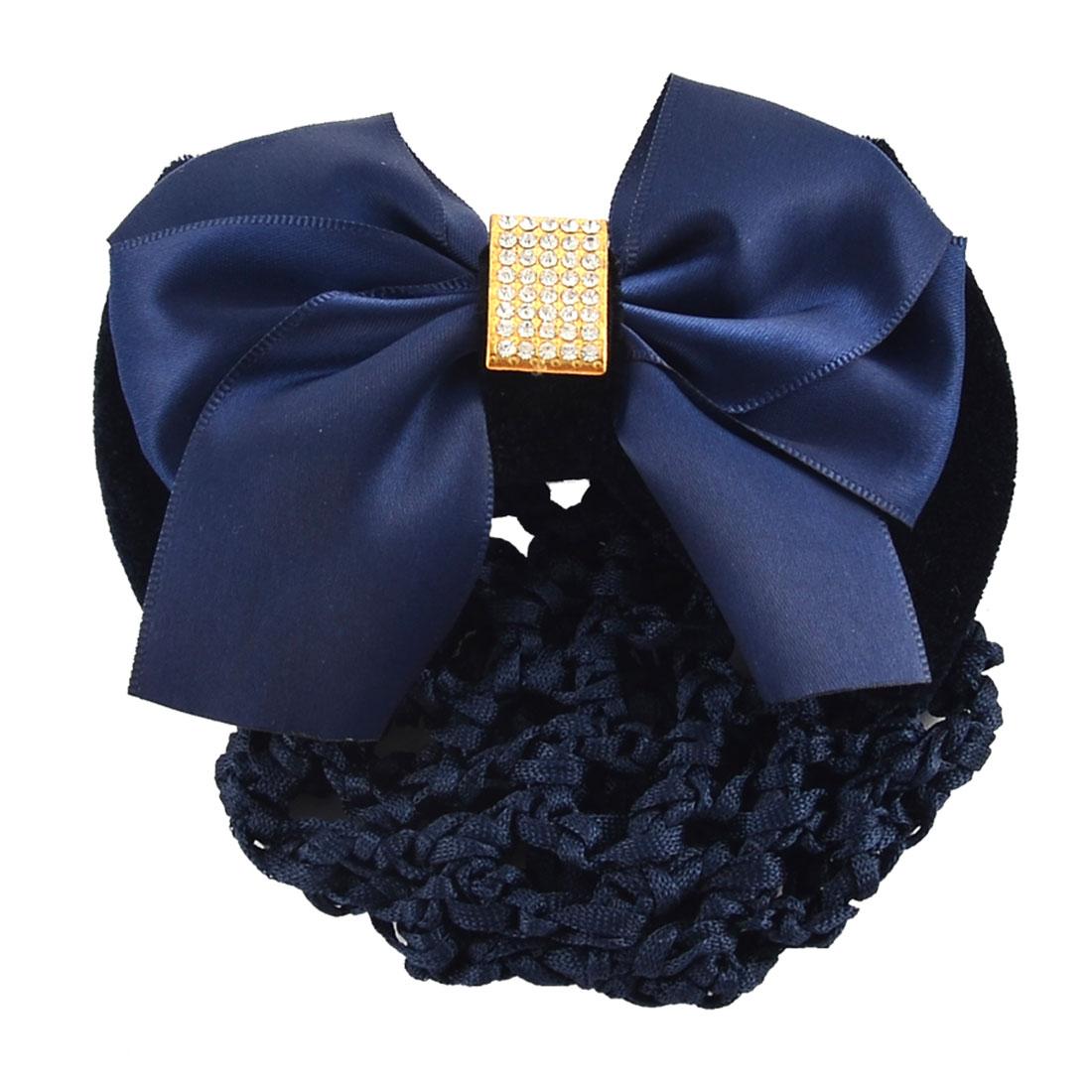 Women Hairdressing Bowtie Barrette Hair Clip Snood Hairclip Net Dark Blue
