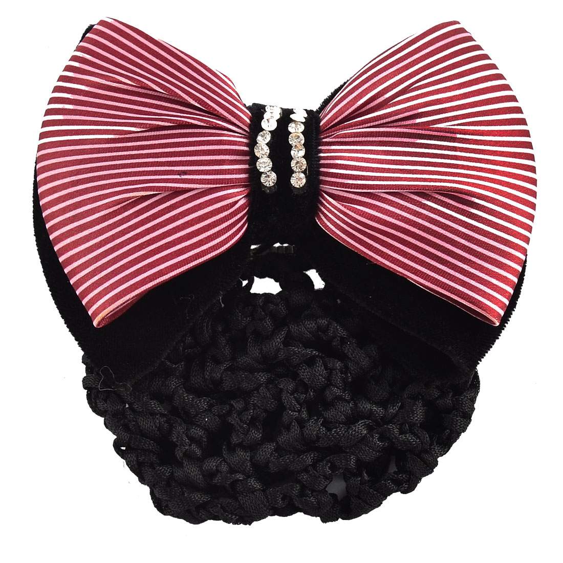 Women DIY Hairstyle Bowtie Decor Snood Net Holder Barrette Hair Clip Hairnet