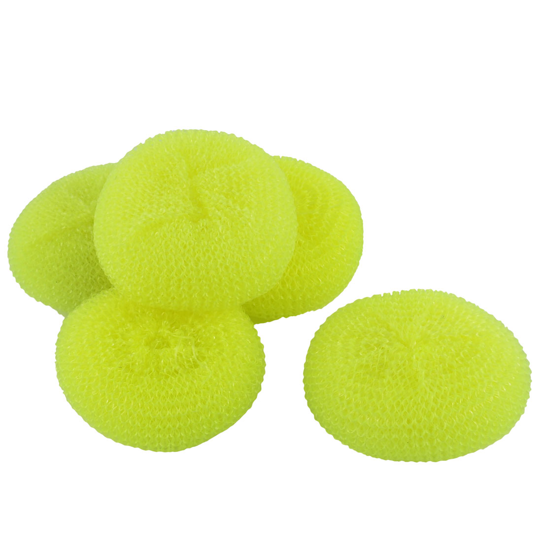 Kitchen Dish Pot Plastic Mesh Scouring Cleaning Scrubber Light Yellow 5pcs