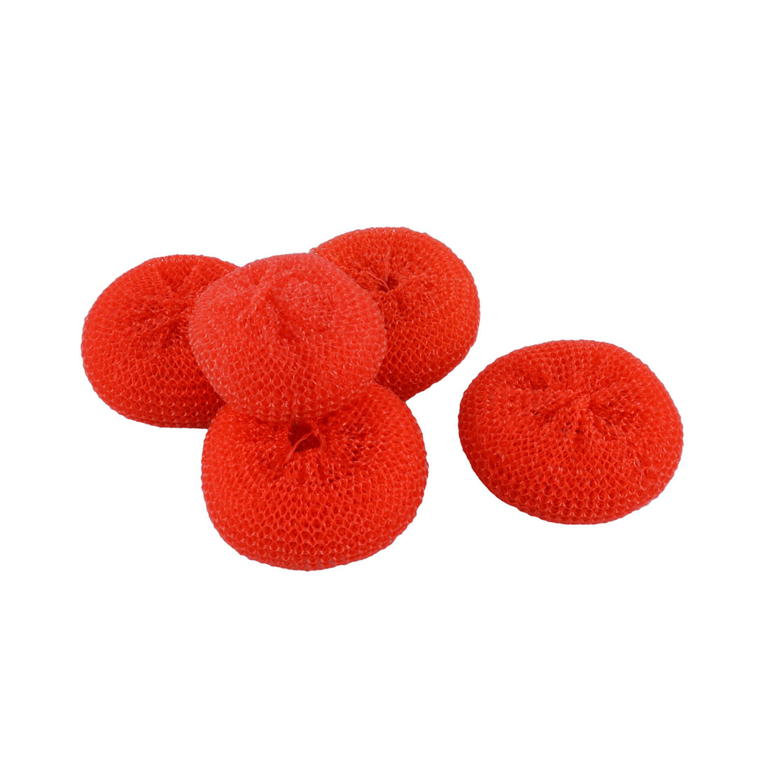 Kitchen Dish Pot Pan Plastic Mesh Scouring Washing Cleaning Scrubber Pad Red 5pcs