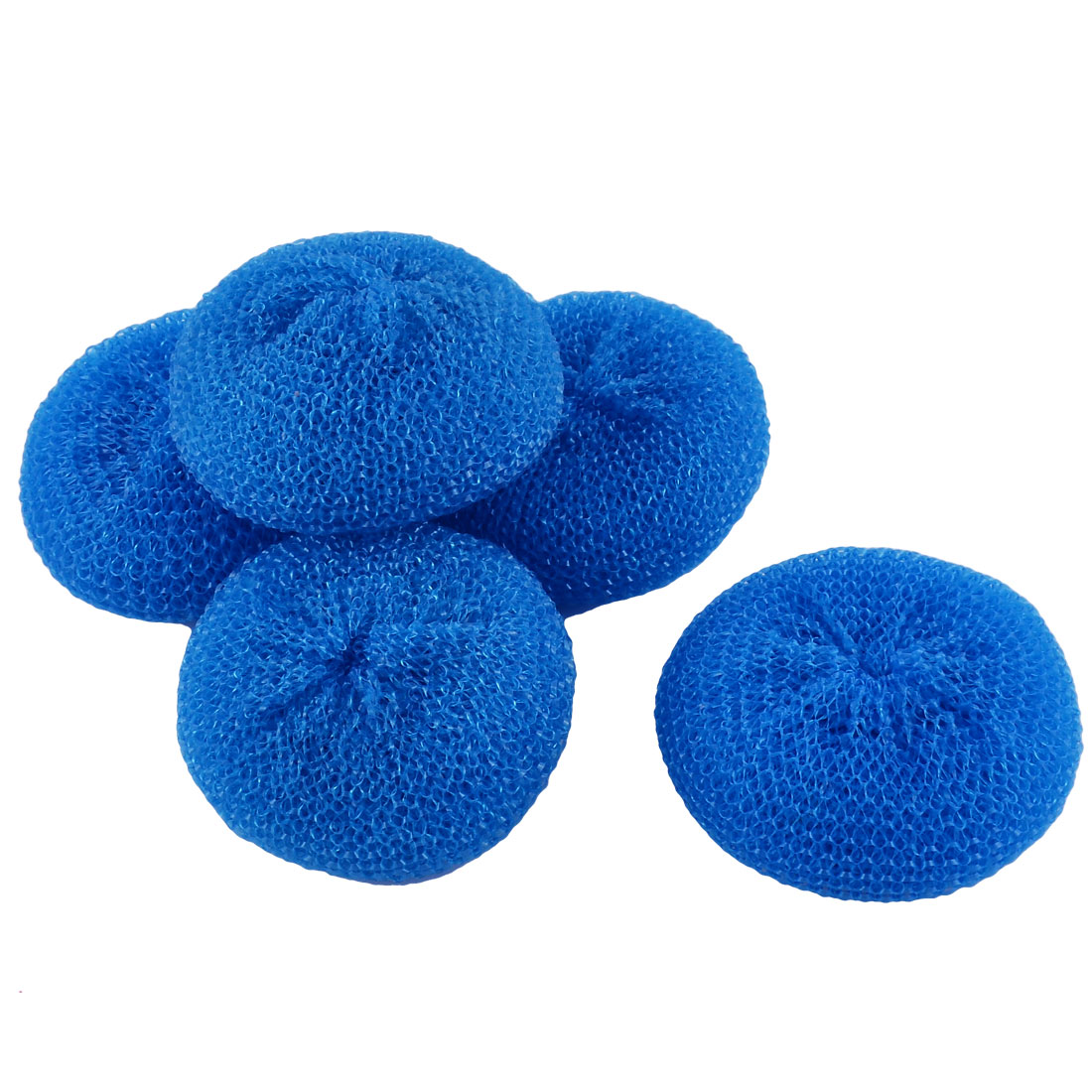 Dish Pot Pan Plastic Mesh Scouring Washing Cleaning Scrubber Pad Blue 5pcs