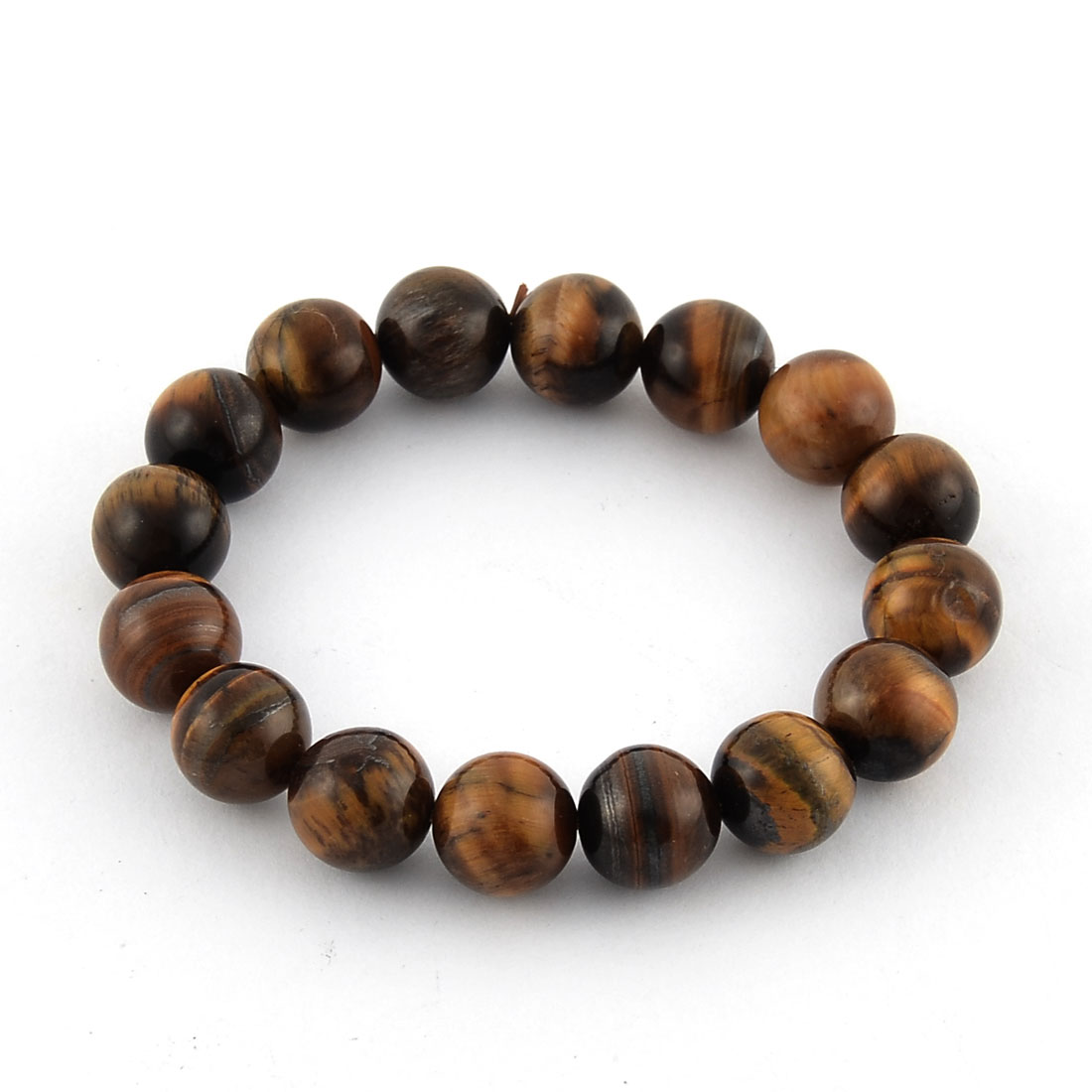 Faux Jade Beads Decor Elastic String Wrist Bracelet Bangle Brown Black