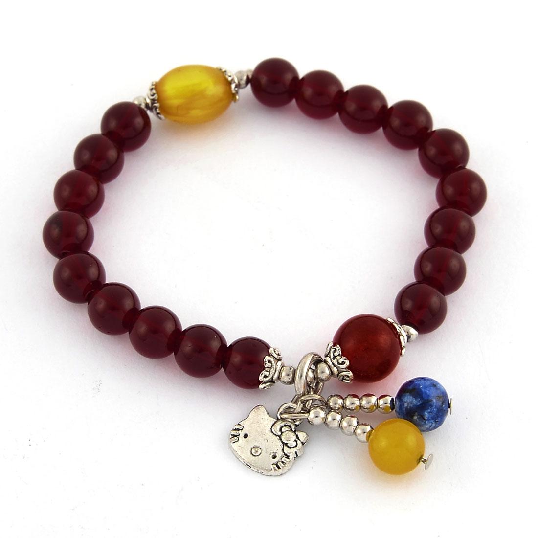 Women Heart Round Bead Pendant Decor Elastic String Wrist Bracelet Bangle Burgundy