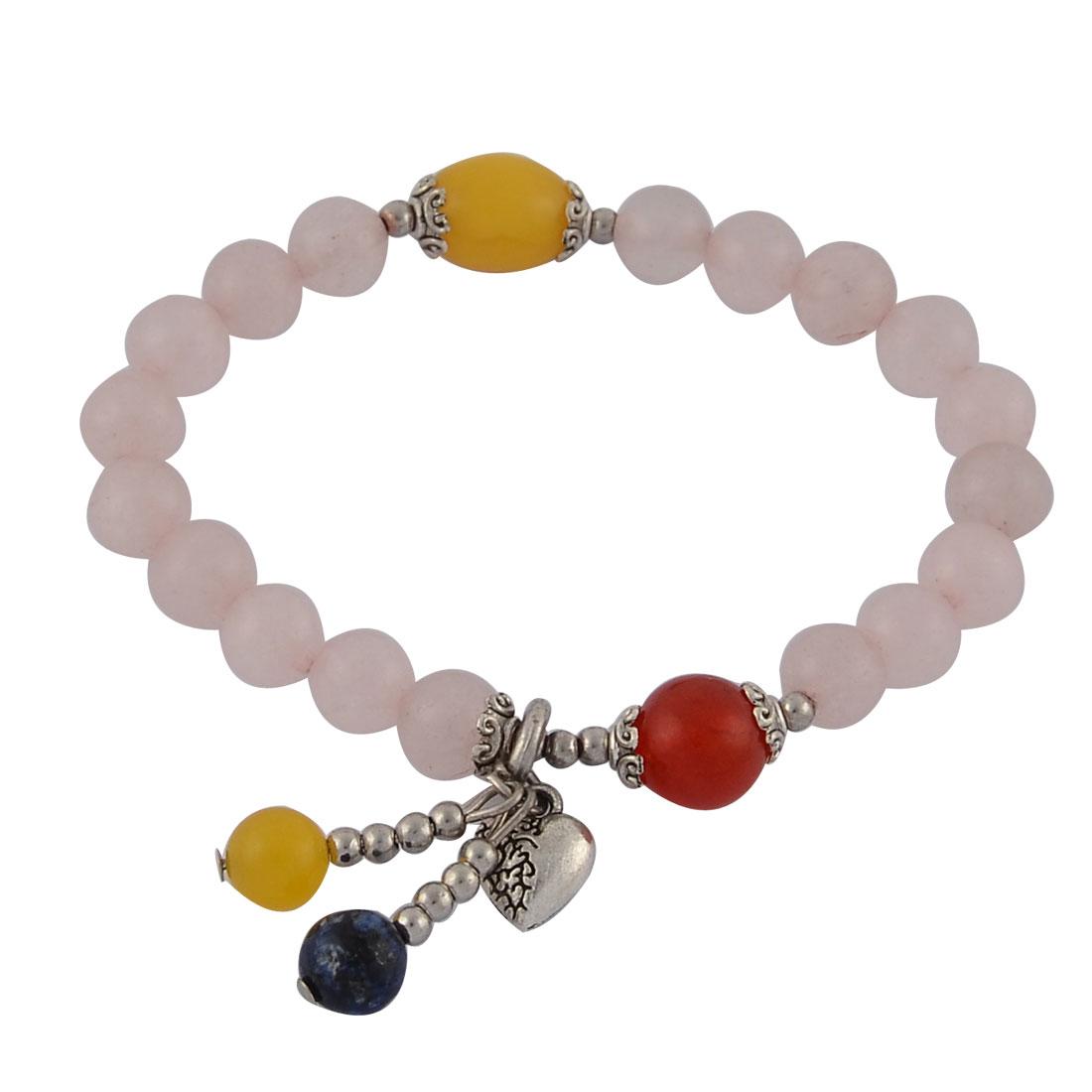 Women Heart Round Bead Pendant Decor Elastic String Wrist Bracelet Bangle Pink