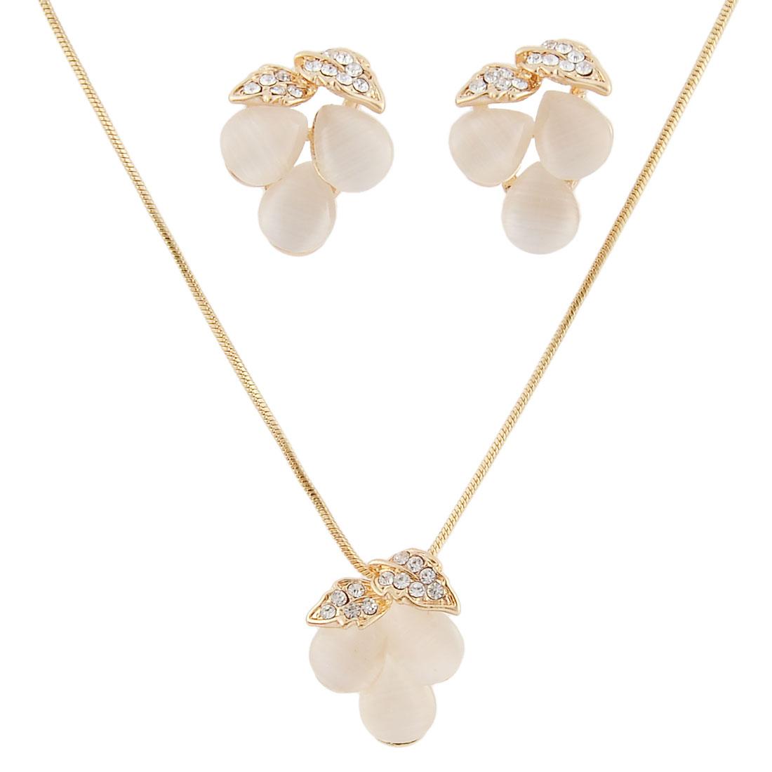 Flower Shaped Glittery Bead Rhinestone Decor Jewelry Necklace Earrings Set