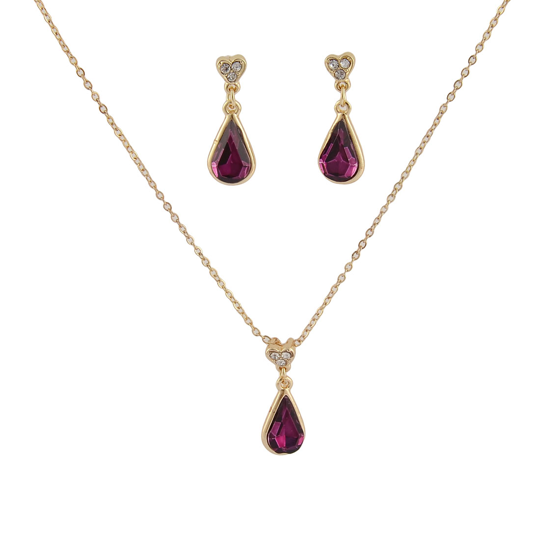 Tear Shaped Faux Crystal Decor Adjustable Chain Jewelry Necklace Earrings Set