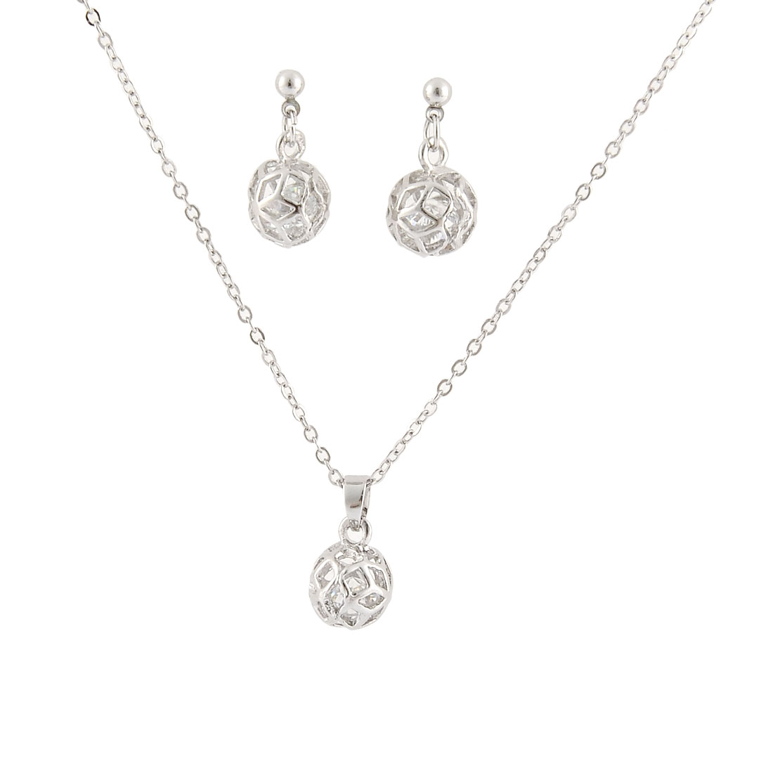 Lady Metal Ball Shaped Faux Crystal Decor Adjustable Chain Necklace Earrings Set