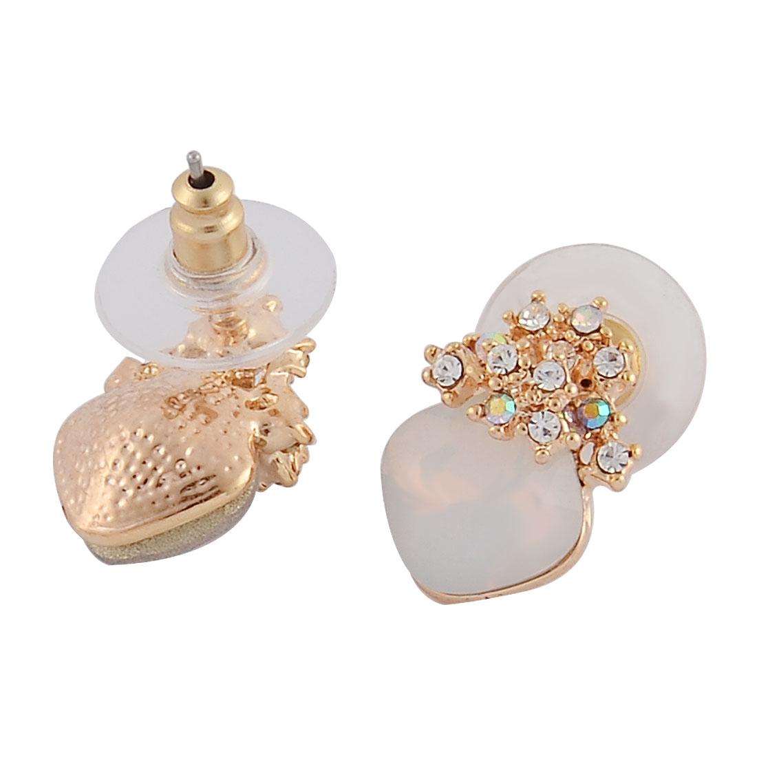 Women Rhombus Shaped Faux Crystal Inlaid Metal Pierced Pin Stud Earrings Pair