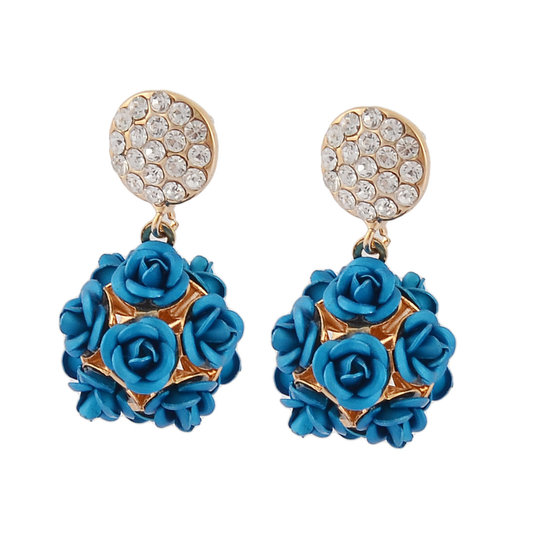 Women Round Shaped Faux Crystal Inlaid Flower Decor Pendant Earrings Pair