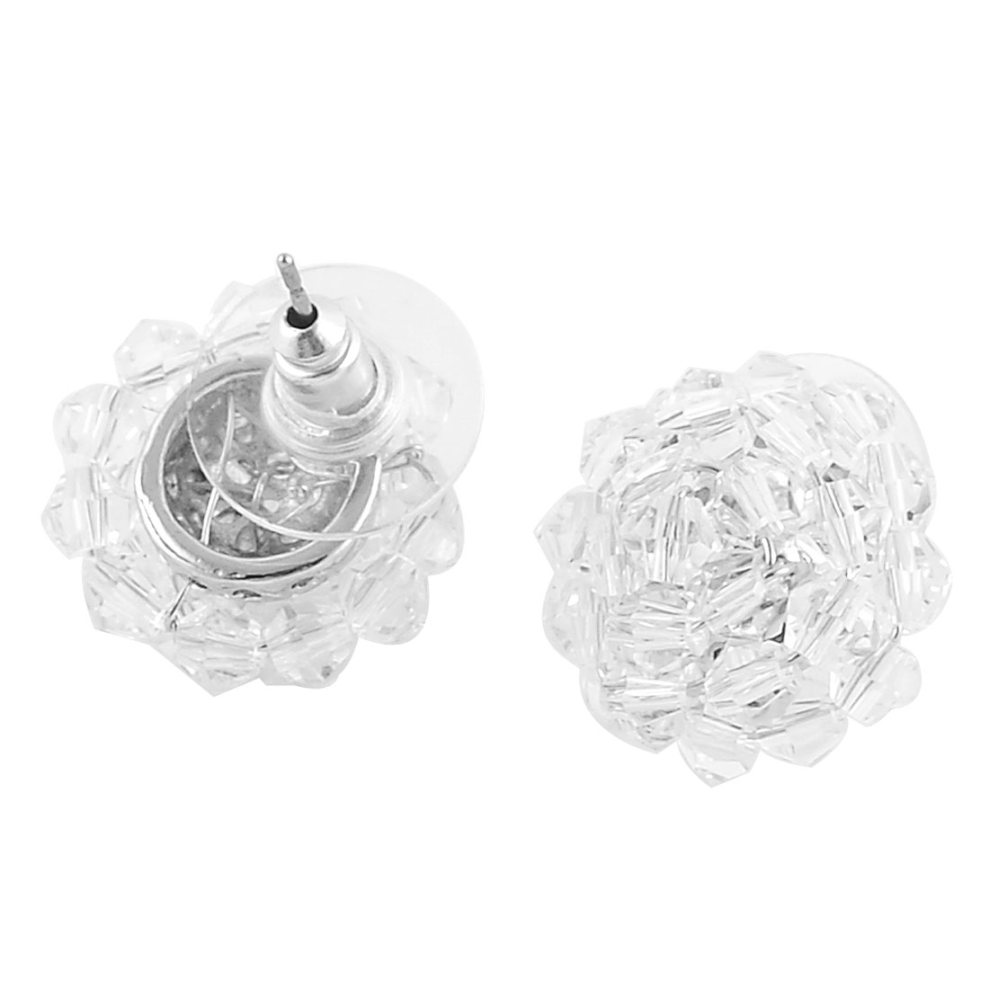 Women Flower Decor Faux Crystal Inlaid Metal Pierced Stud Earrings Ear Nail Pair