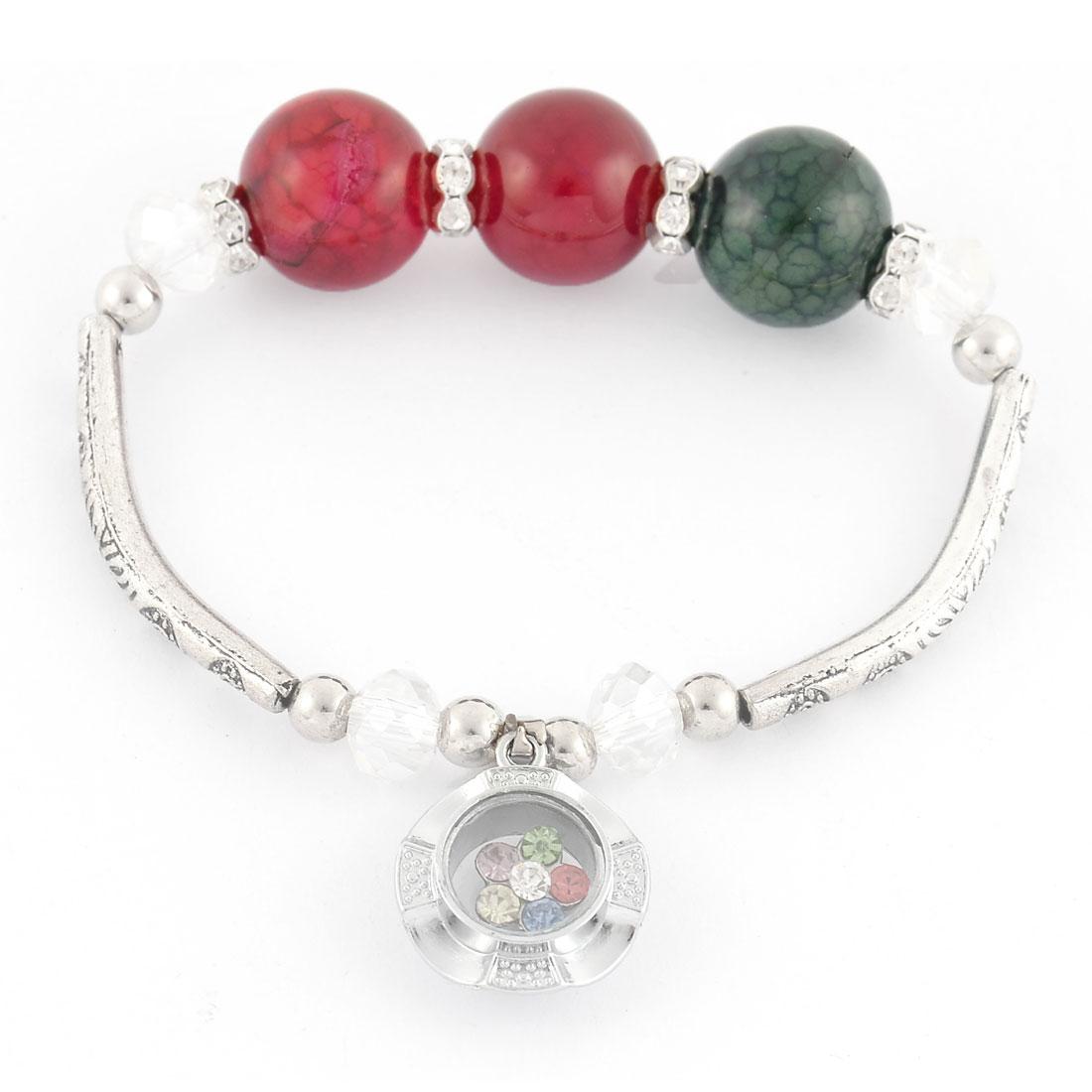 Lady Rhinestone Inlaid Pendant Elastic String Beads Linked Bracelet Bangle Wrist