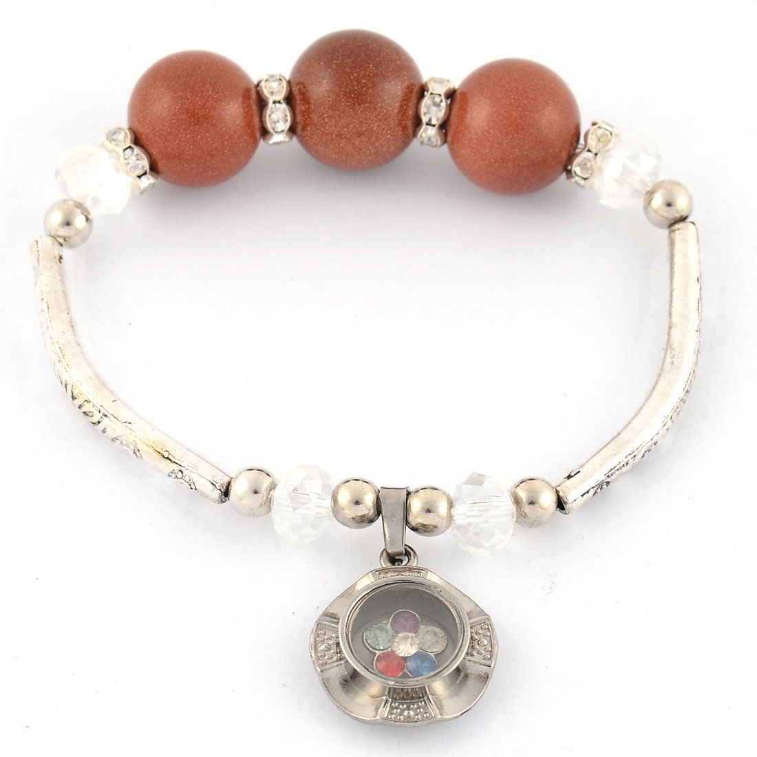 Lady Rhinestone Inlaid Pendant Elastic Bead String Wrist Bracelet Brown