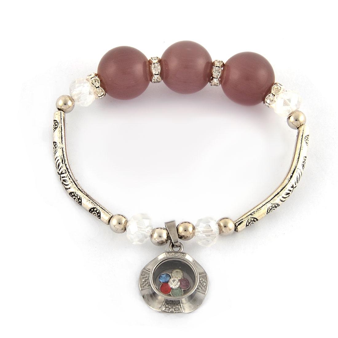 Rhinestone Inlaid Pendant Elastic Bead Chain Wrist Bracelet Bangle Light Purple
