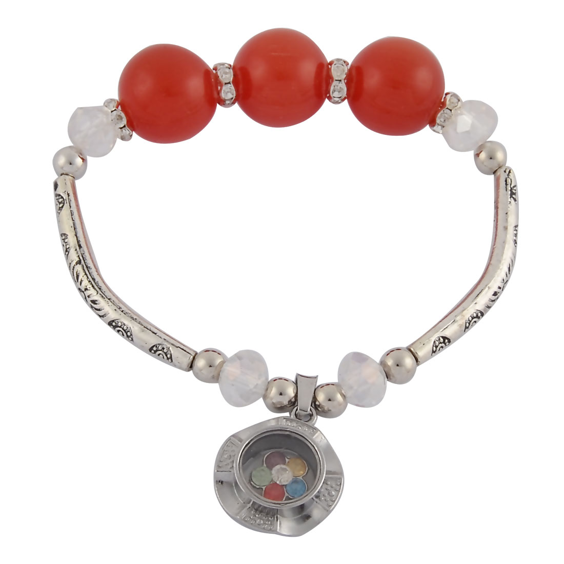 Women Rhinestone Inlaid Pendant Elastic Bead Chain Wrist Bracelet Bangle Brick Red