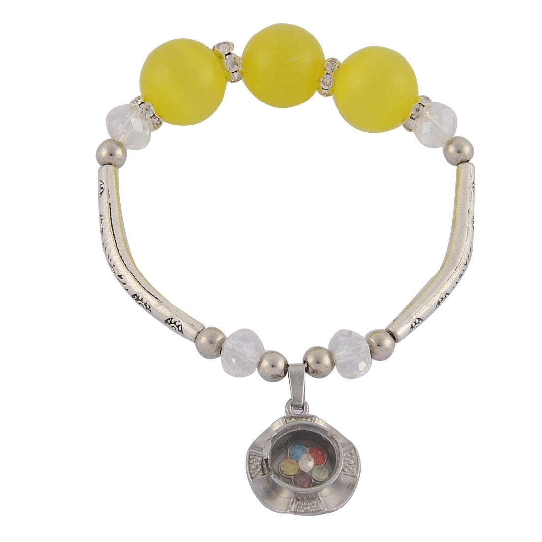 Women Rhinestone Inlaid Pendant Elastic Bead Chain Wrist Bracelet Bangle Light Yellow