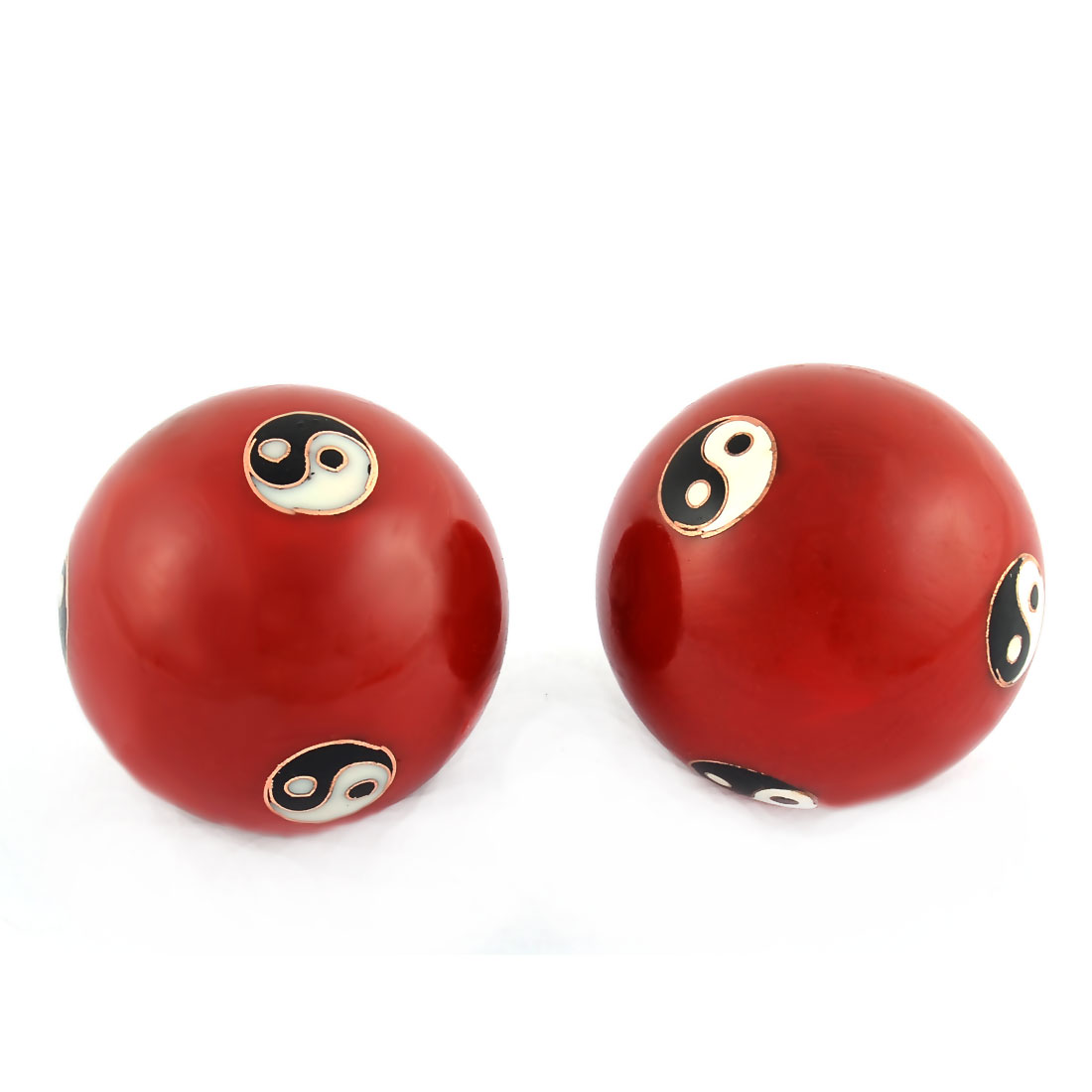 Cloisonne Yin-Yang Pattern Chinese Baoding Exercise Stress Relief Ball Pair