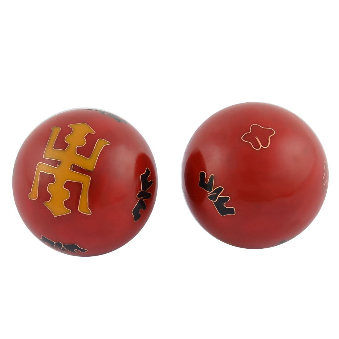 Cloisonne Vintage Style Chinese Baoding Hand Palm Exercise Healthy Ball Red Pair