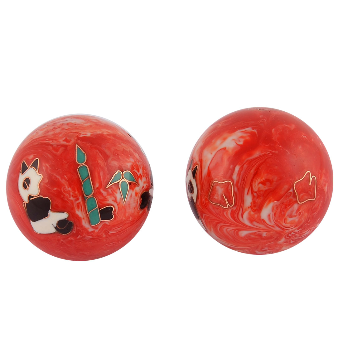 Cloisonne Panda Pattern Hand Palm Exercise Healthy Ball Chime Massage Pair