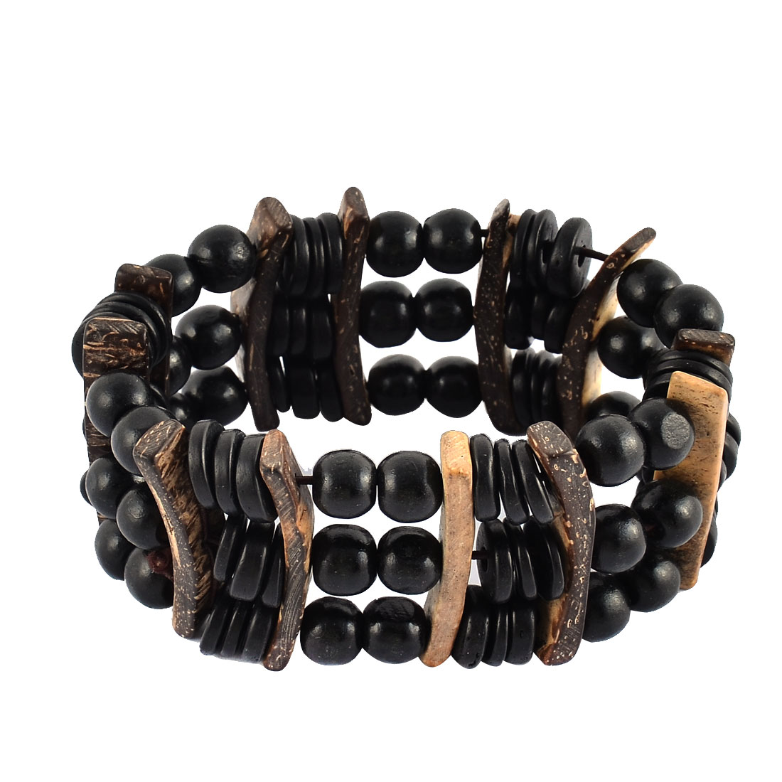 Women Wood Elastic Wrist Beaded Wrap Jewelry Bracelet Bangle Black Woden Color