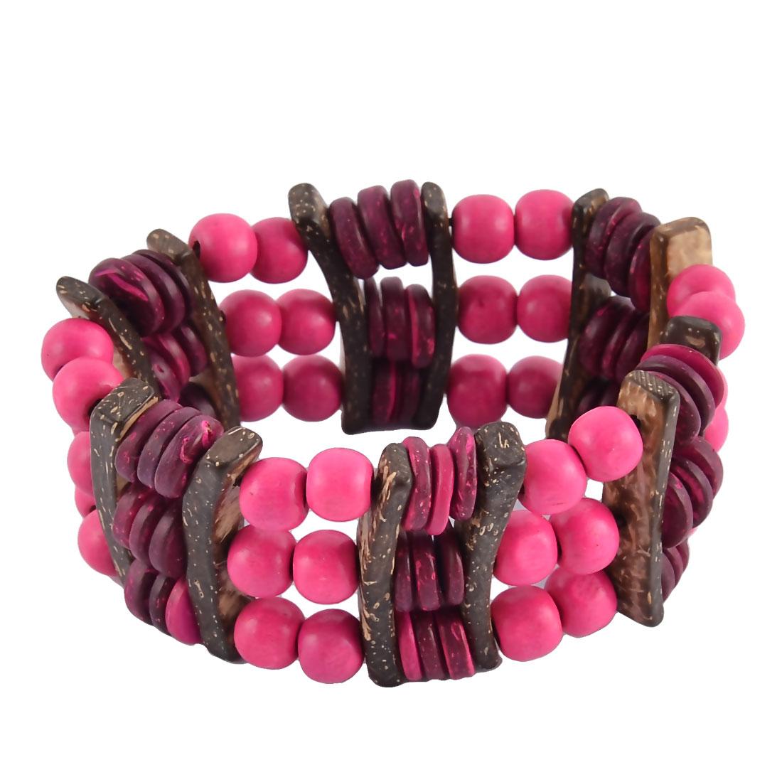 Women Wood Handmade Elastic String Wrist Beads Wrap Bracelet Bangle