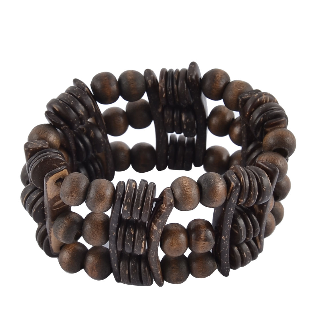 Women Wood Round Beads Stick Strap Elastic Wrist Bracelet Bangle Dark Brown