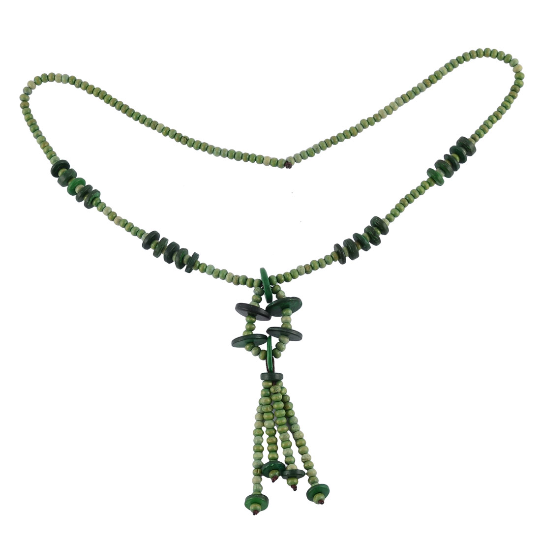 Women Wood Bead Nylon Chain Handmade Sweater Clothes Necklace Accessory Green