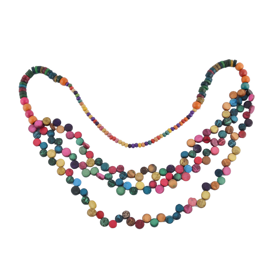 Women Wood Bead Nylon Chain 3 Layers Sweater Clothes Necklace Colorful