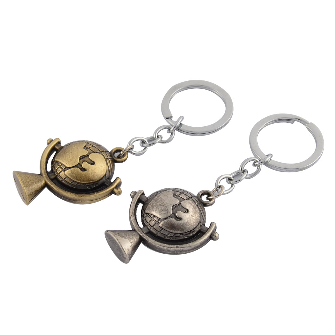Metal Tellurion Design Pendant Ornament Key Chain 9.5cm Length 2 Pcs