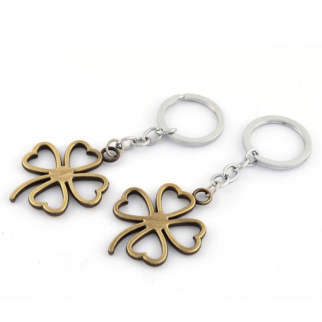 Metal Lucky Grass Shaped Pendant Ornament Key Chain Golden Tone 10.2cm 2 Pcs
