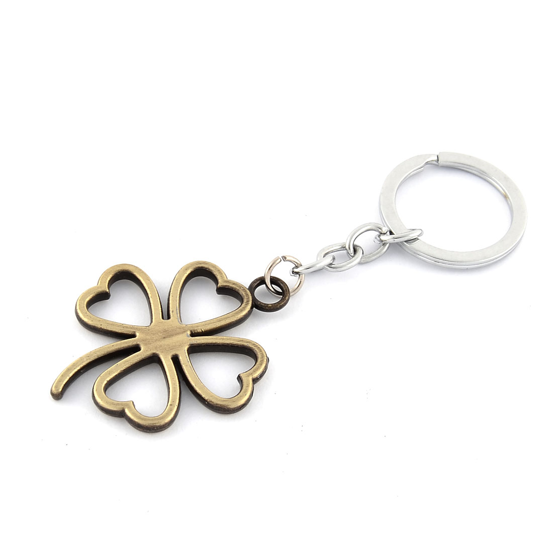 Metal Lucky Grass Shaped Pendant Ornament Key Chain Golden Tone 10.2cm Length