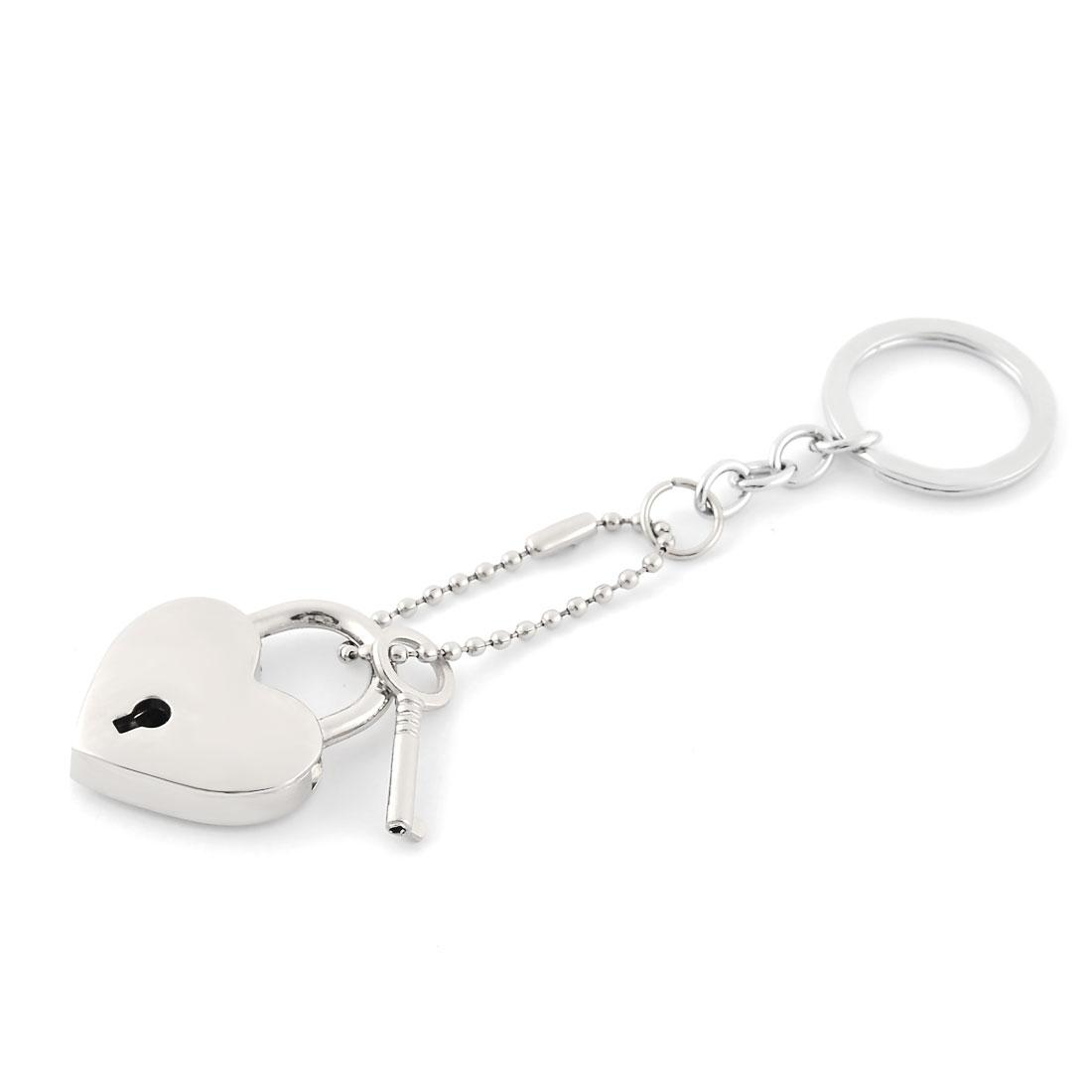 Bag Metal Heart Design Pendant Ornament Key Chain Silver Tone 12.9cm Length