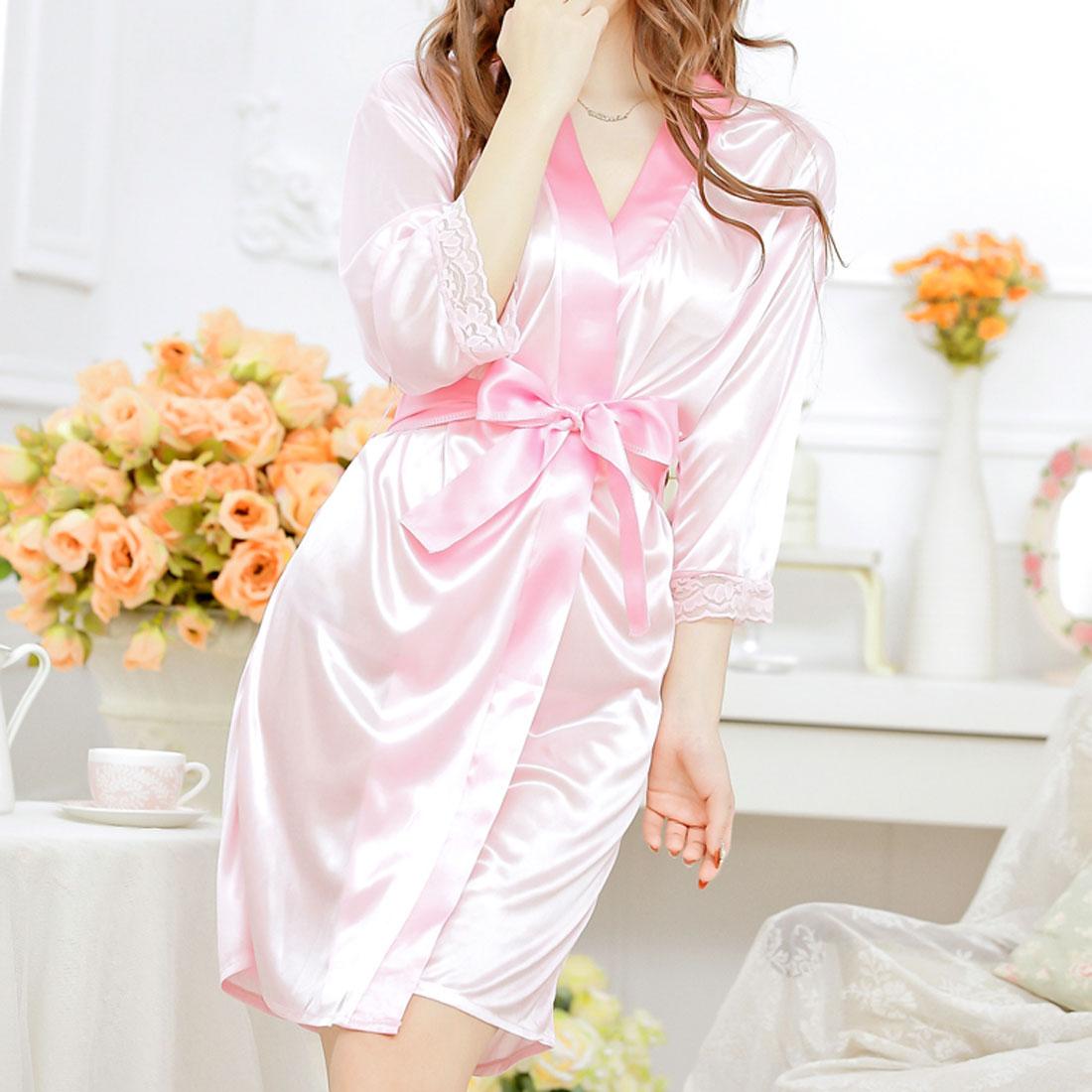Women Lady Silk Satin Lingerie Robe Sleepwear Nightwear Kimono Gown Night Dress Pink