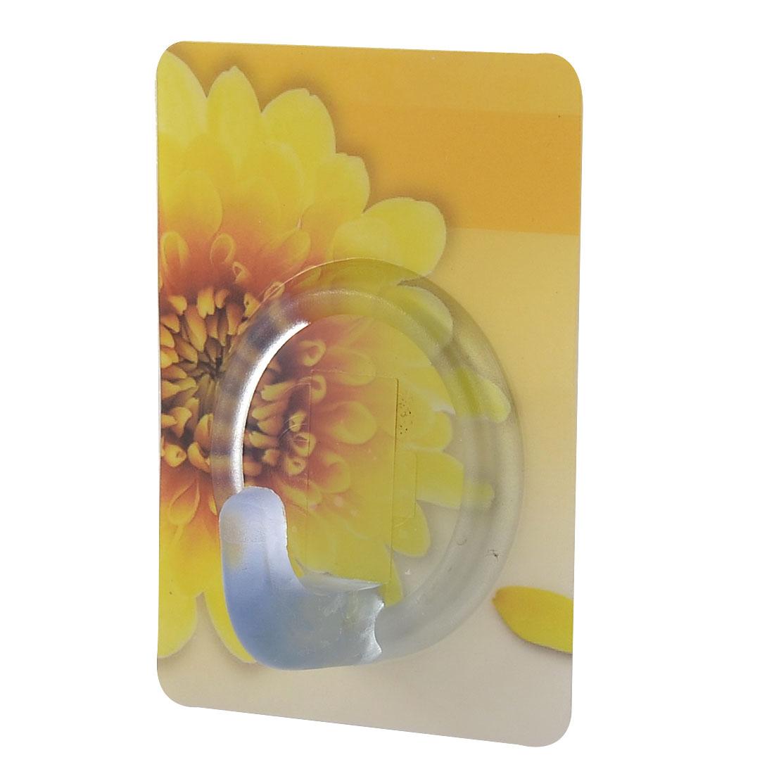 Home Kitchen Chrysanthemum Pattern No Scratch Towel Hanging Self Adhesive Hook