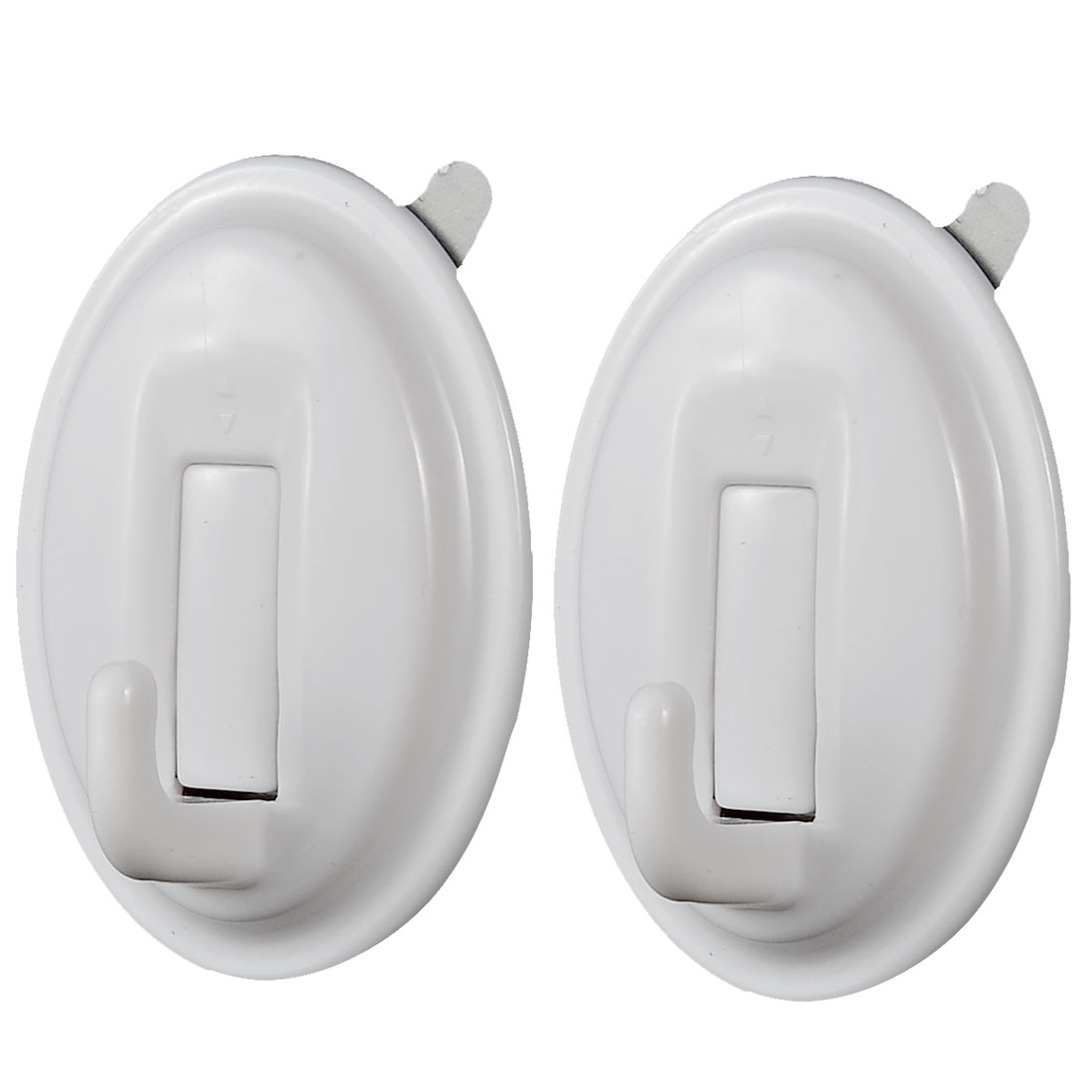 Bathroom Oval Shape No Dent Towel Clothes Scarf Hanging Self Adhesive Hook White 2pcs