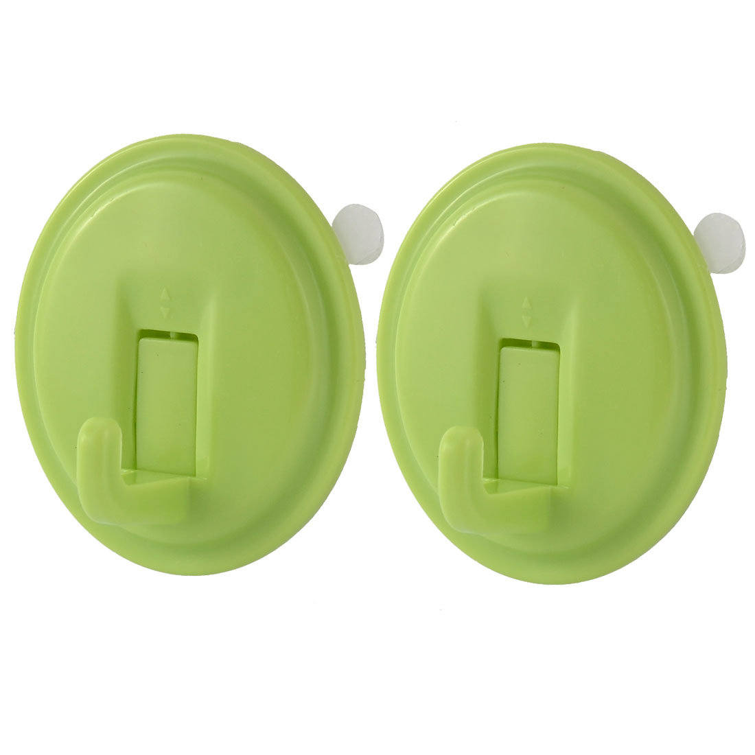 Home Oval Shape No Dent Towel Clothes Hanging Self Adhesive Hook Holder Green 2pcs