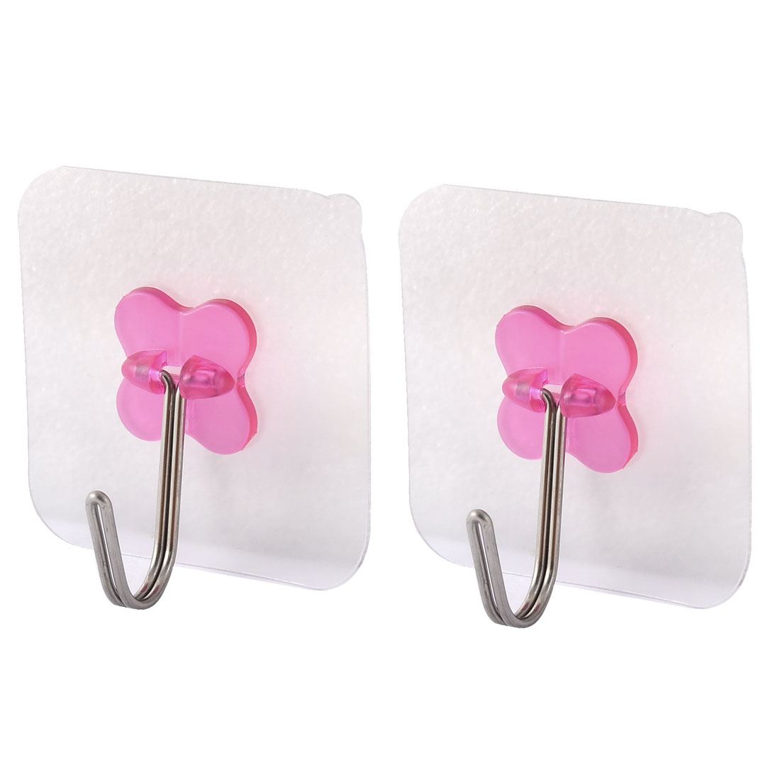 Home Wall No Scratch Towel Clothes Hanging Self Adhesive Seamless Hook Fuchsia 2pcs