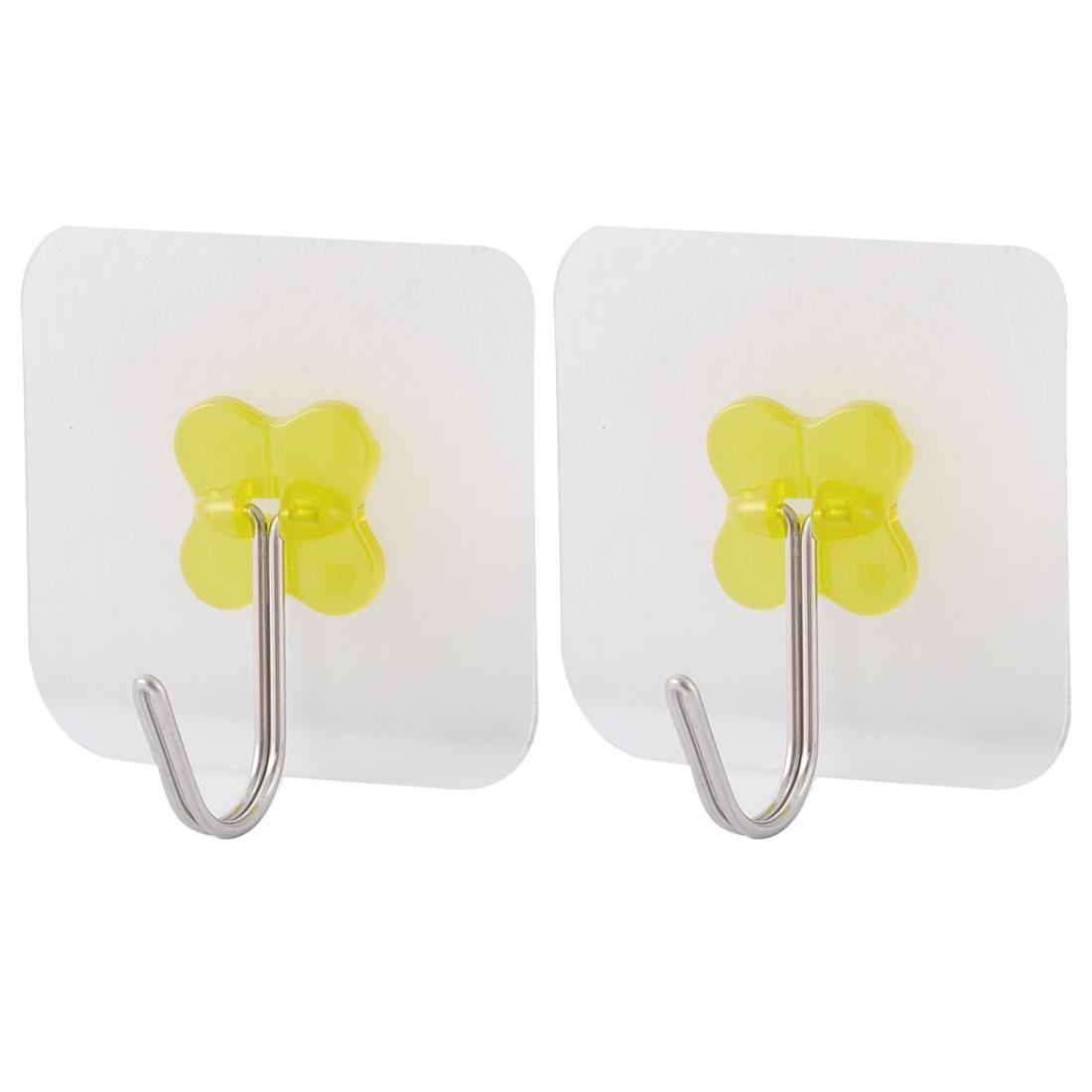 Home Door No Scratch Towel Clothes Hanger Self Adhesive Seamless Hook Yellow 2pcs
