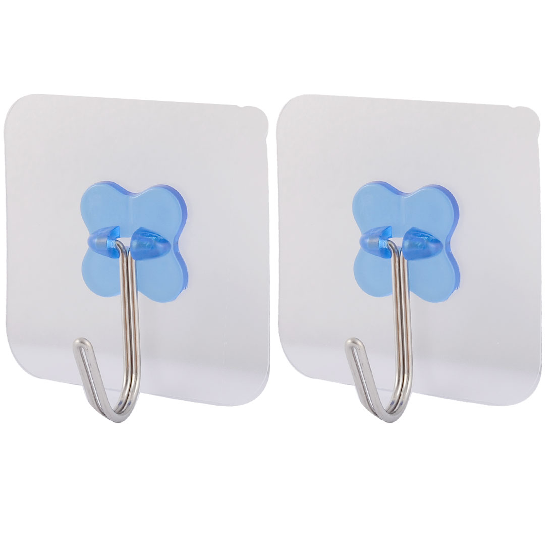 Home Wall Door No Scratch Towel Clothes Hanger Self Adhesive Seamless Hook Blue 2pcs