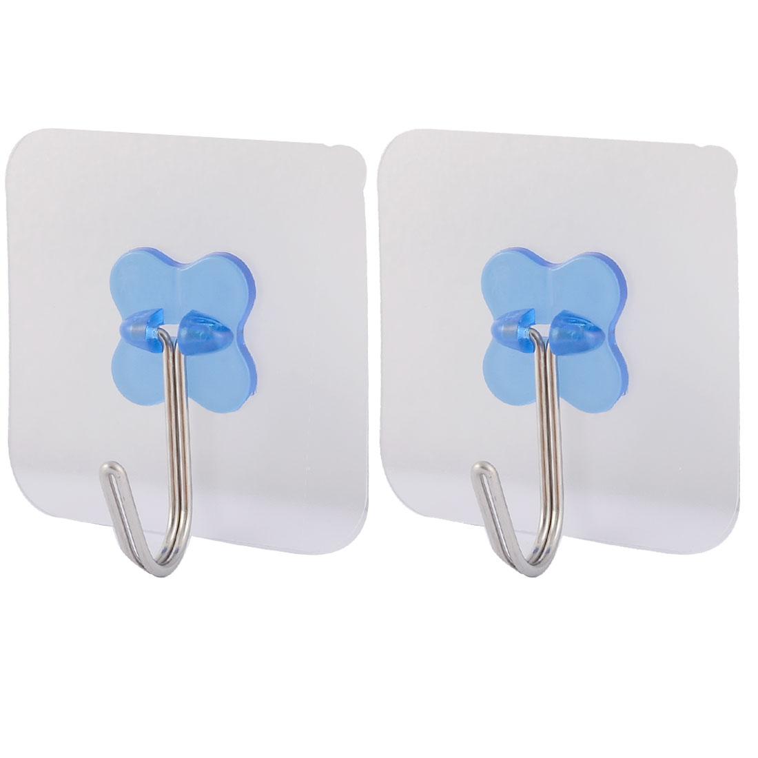 Home Wall Door No Scratch Towel Clothes Hanger Self Adhesive Seamless Hook Blue 2pcs