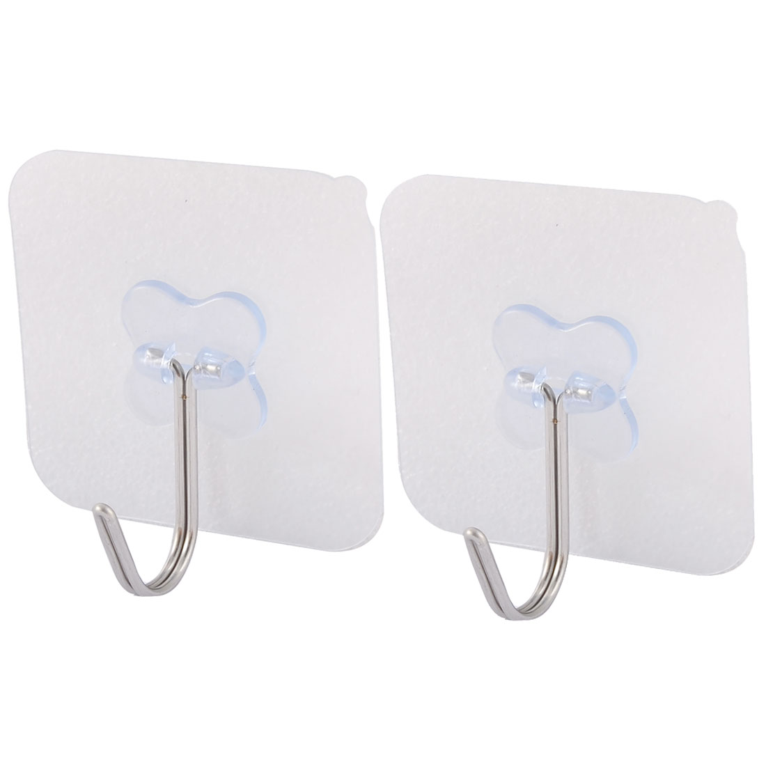 Wall Door No Scratch Towel Clothes Hanger Adhesive Seamless Hook Clear Blue 2pcs
