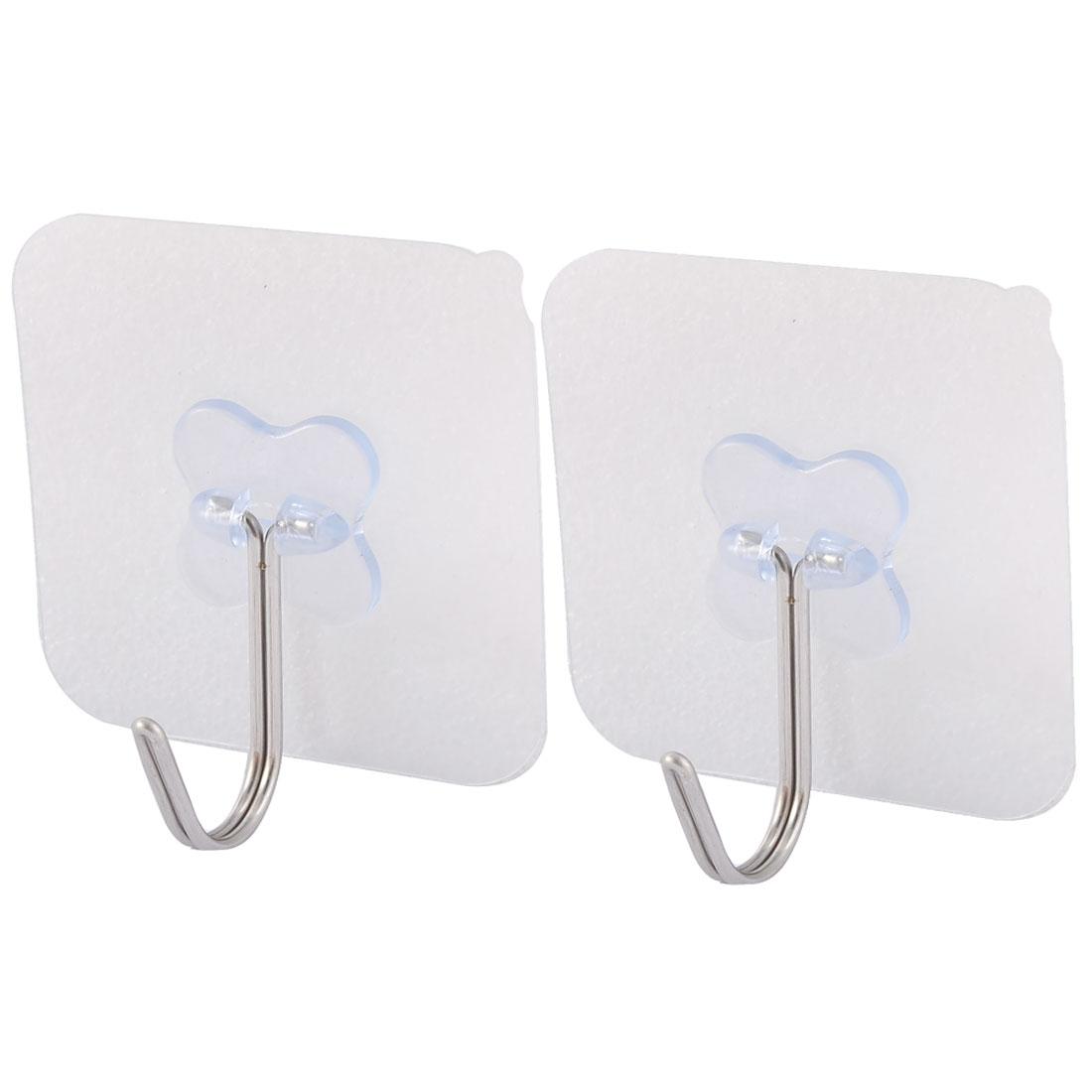 Wall Door No Scratch Towel Clothes Hanger Adhesive Seamless Hook Clear Blue 2pcs