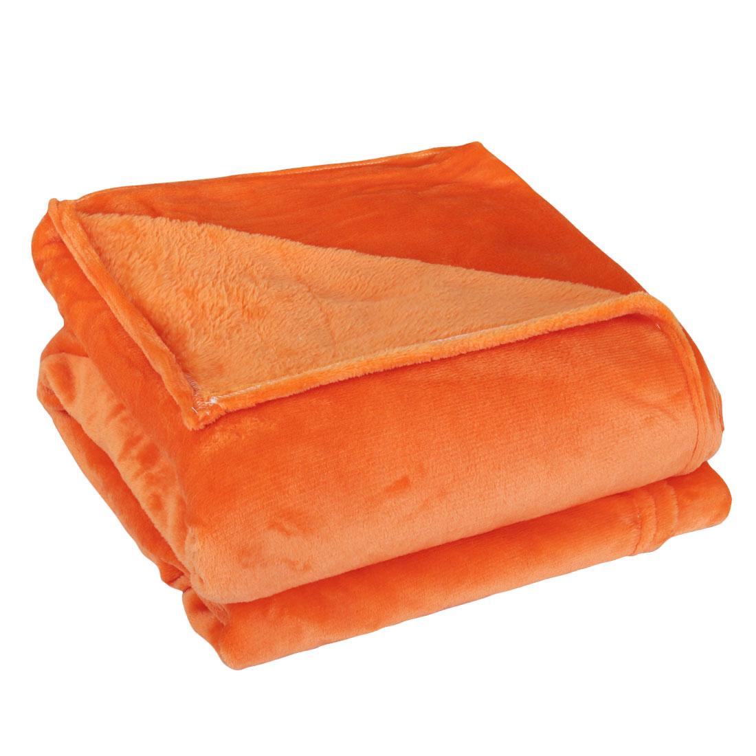 230 x 250cm Home Bedroom Warm Throw Blanket Rug Plush Fleece Bed Quilt Sofa Soft Pure Orange
