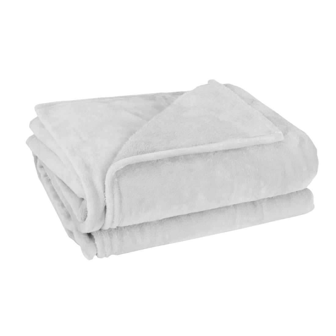 230 x 250cm Home Bedroom Warm Throw Blanket Rug Plush Fleece Bed Quilt Sofa Soft Pure Light Gray