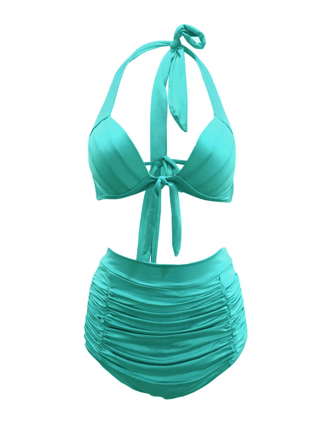 Women 50s Halter High Waist Bikini Vintage Swimsuit Bathing Suit Peacock Blue L