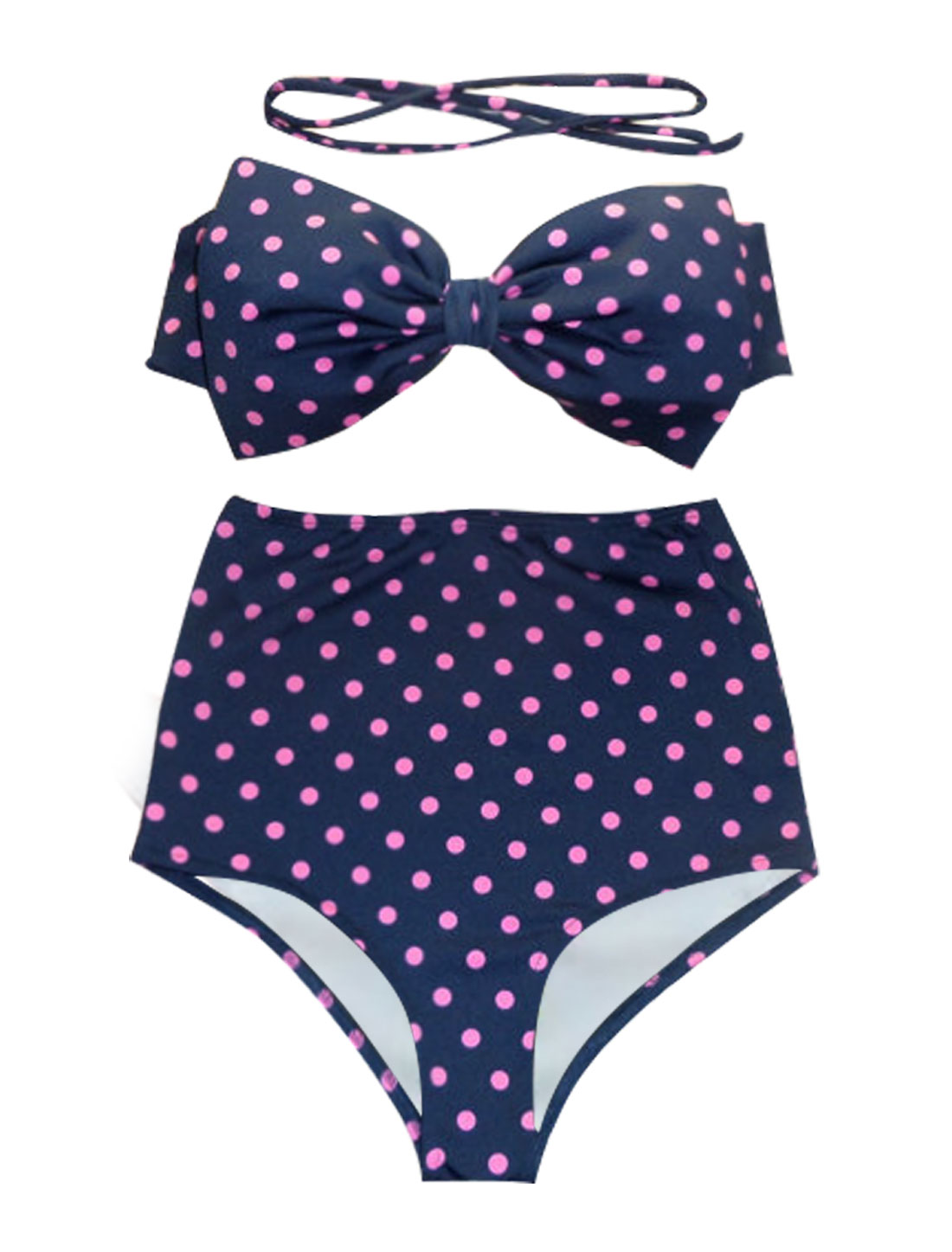 Women Vintage Push-up Padded Bikini Dots High Waist Top Bow Bathing Suit M Navy
