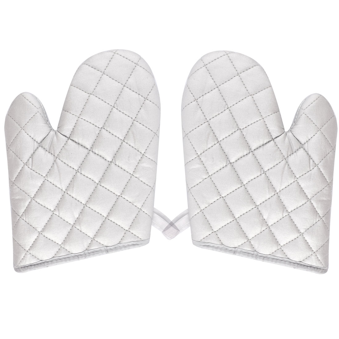 Kitchen Bakery Heat Resistance Microwave Baking Oven Mitt Gloves Silver White Pair