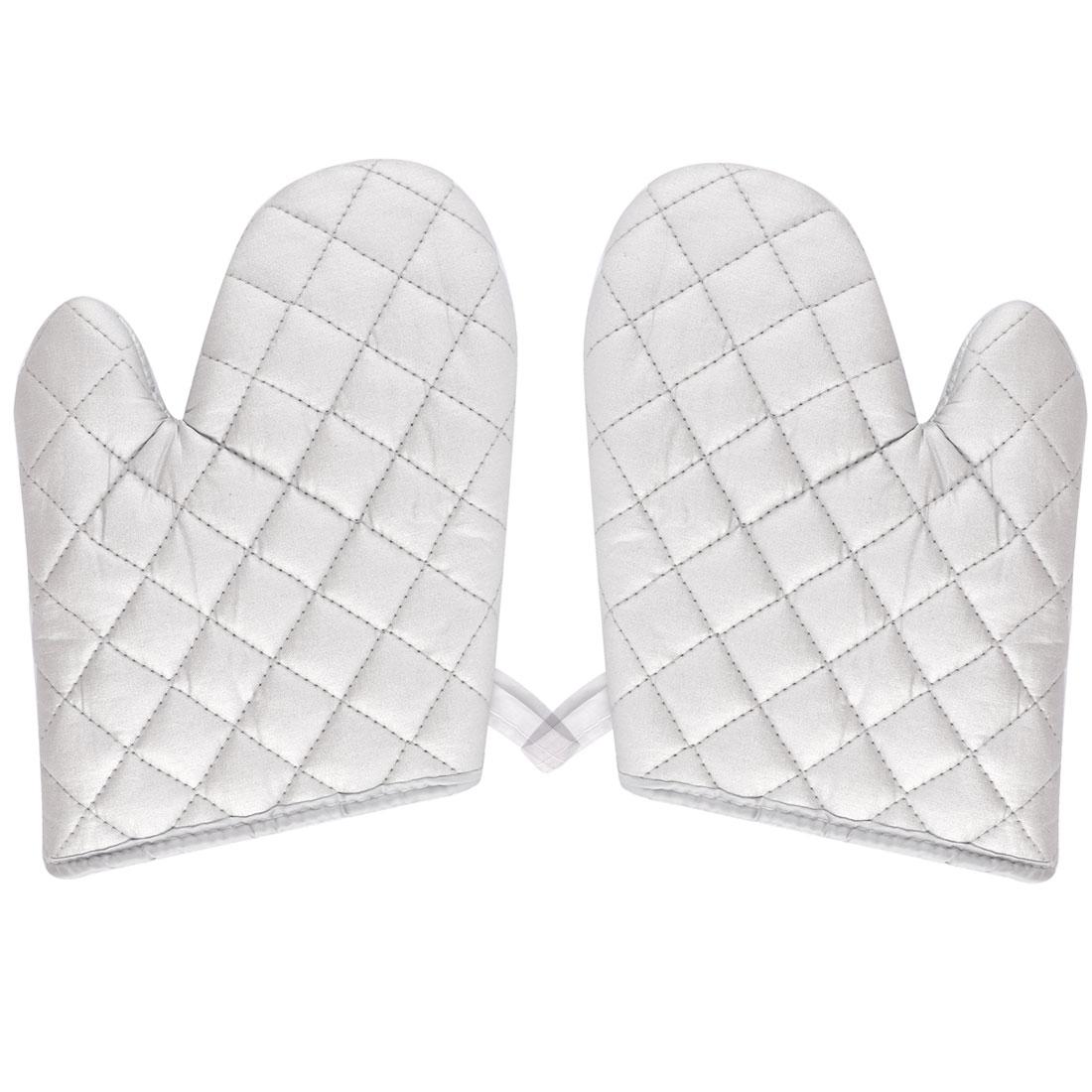 Kitchen Bakery Heat Resistance Microwave Baking Oven Mitt Gloves Silver White Pair
