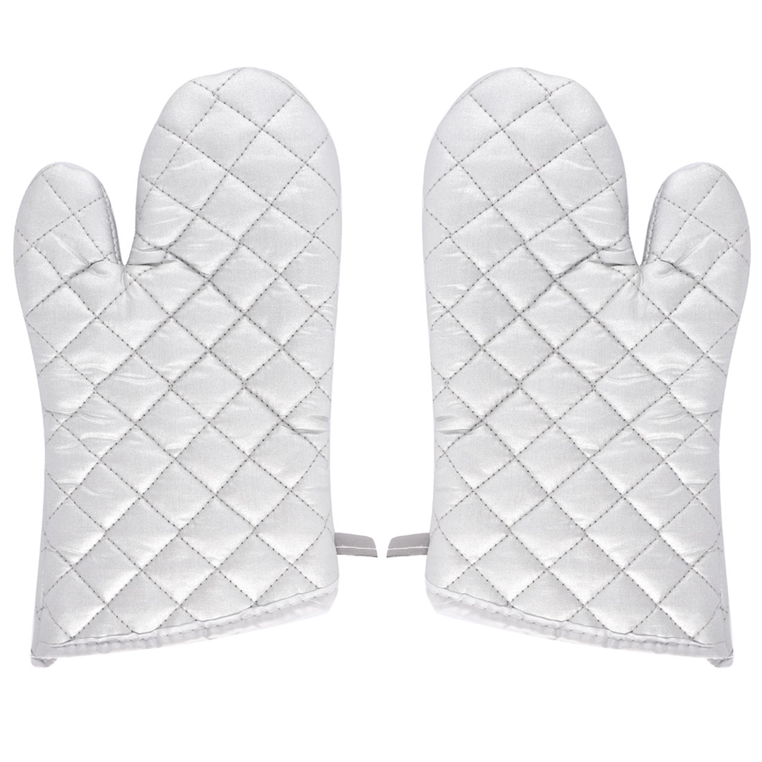Kitchen Bakery Heat Resistance Baking Insulated Oven Mitt Gloves Silver White Pair