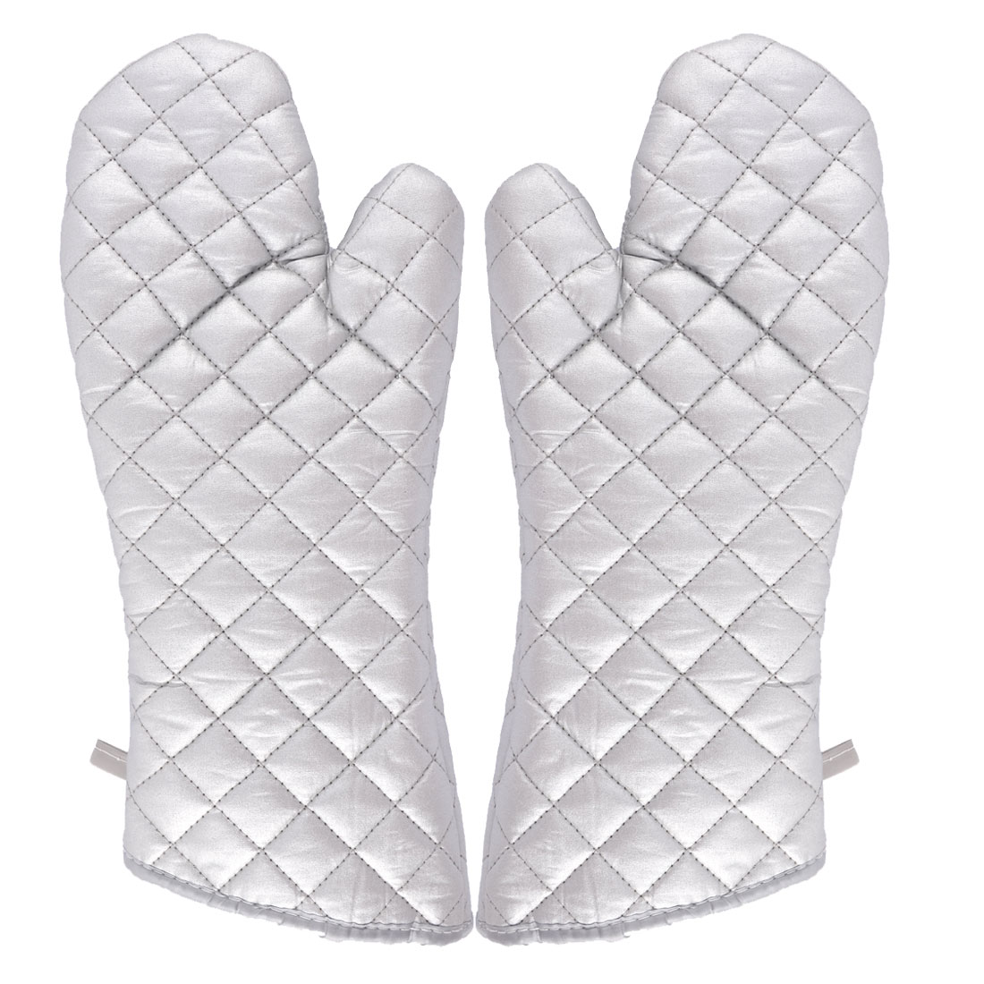Household Kitchen Bakery Heat Resistance Microwave Baking Oven Gloves Silver Tone Pair